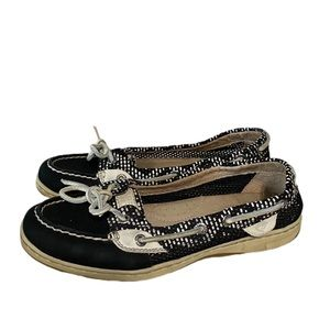 Sperry Black & White Top-Sider Boat Shoes
